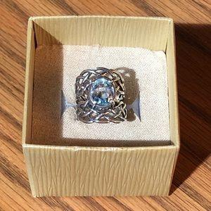 🌹Beautiful Blue Topaz 925 SS Israel Ring